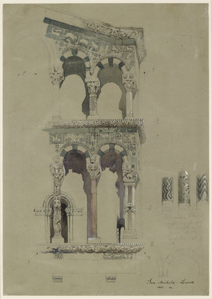 Part of the Façade of the destroyed Church of San Michele in Foro, Lucca, as it appeared in 1845