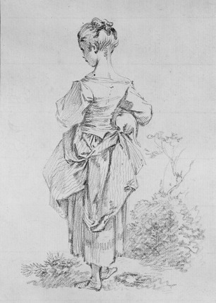 Young Girl, seen from behind, carrying a Dog under her right Arm