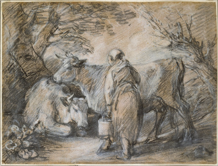 Milkmaid with two cows