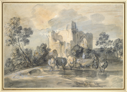 Landscape with a ruined Castle, and Cattle by a Poo