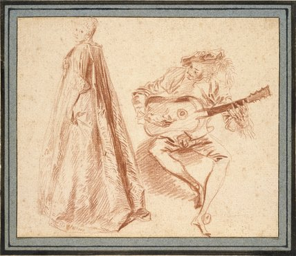 Girl standing in profile to left, looking over her left Shoulder, with a Man, on the right, playing a Guitar