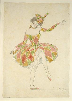 Design for Anna Pavlova's Costume of Columbine in 'Arlekinade'