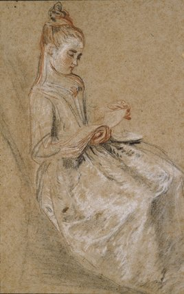 Girl seated with a Book of Music on her Lap
