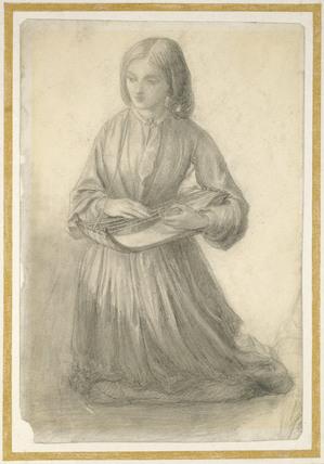 Elizabeth Siddal playing a Stringed Instrument