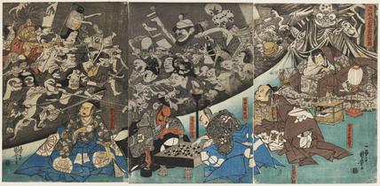 Minamoto Raikō and the Earth Spider (Minamoto Raikō kōkan tsuchigumo saku yōkai no zu)