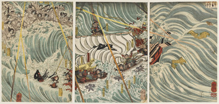The Taira ghosts attacking Yoshitsunes's ship (Daimotsu no ura Yoshitsune shuju)