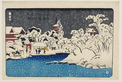 View of Benten Shrine, Kinryuzan Temple, Asakusa in snow
