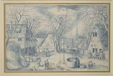 A village scene: Winter
