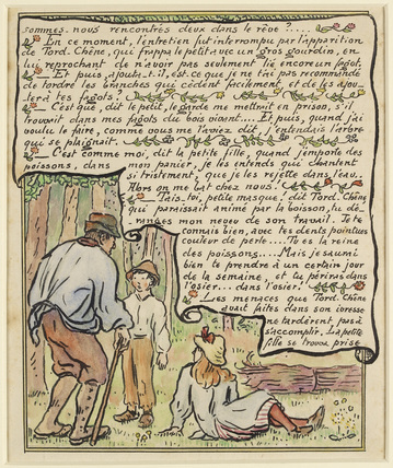 The woodcutter threatens the boy from 'La Reine des Poissons'