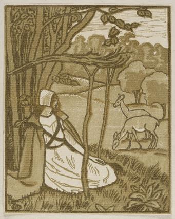 Frontispiece for 'C'est D'Aucassin et de Nicolette' from Lucien Pissarro's own catalogue of his wood-engravings