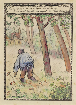 The woodcutter is driven by a tempest to his cabin from 'La Reine des Poissons'