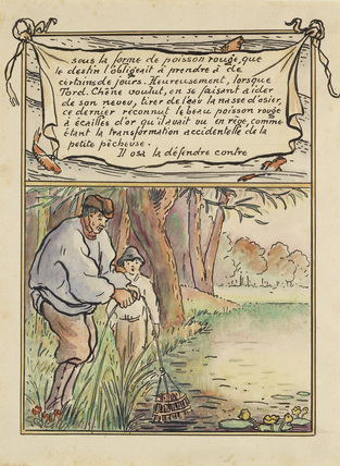 The woodcutter catches the fish in his trap from 'La Reine des Poissons'