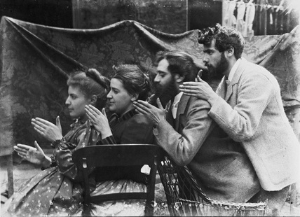 Esther Pissarro, Alice Isaacson, Lucien and Georges Pissarro pretending to be a train