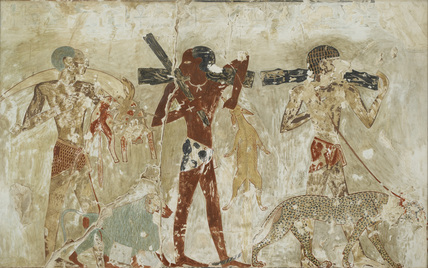 Copy of wall painting, private tomb 100 of Rekhmire, Thebes, Negroes with tribute, ape and panther