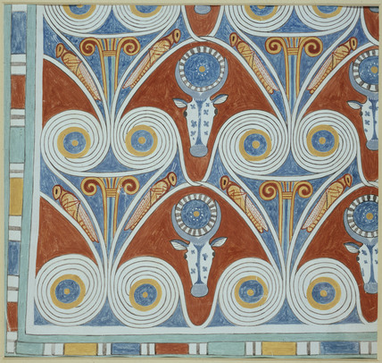Copy of wall painting, private tomb 50 of Neferhotpe, Thebes, ceiling pattern, bulls heads and grass hoppers