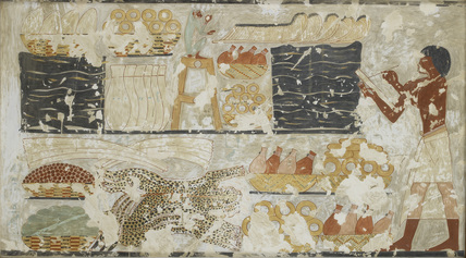 Copy of wall painting, private tomb 100 of Rekhmire, Thebes, scribe registering tribute
