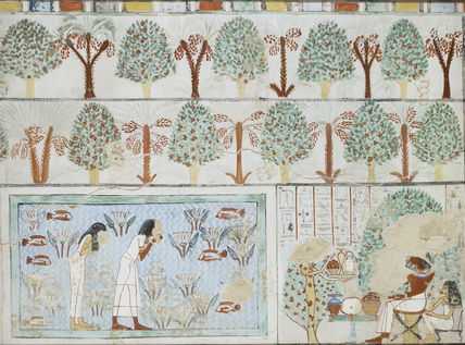 Copy of wall painting from private tomb 63 of Sebkhotpe, Thebes (I, 1, 125-128) man and wife in garden