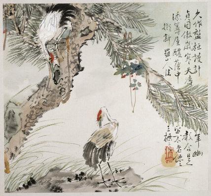 Bird painting - Cranes