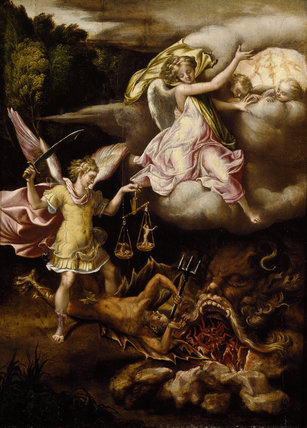 St Michael subduing Satan and weighing the Souls of the Dead