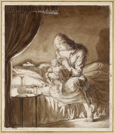Night Scene - Woman feeding her Child