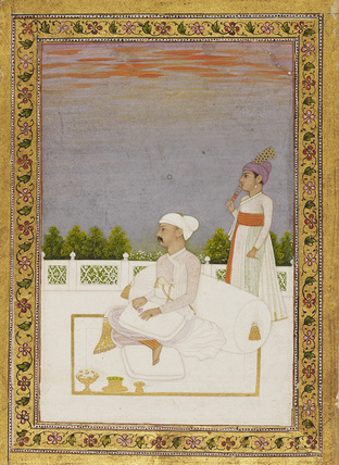 Nobleman (?Mir Qasim) seated on terrace with attendant
