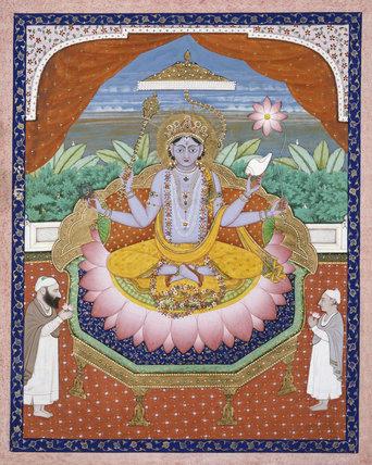 Vishnu on a lotus petal throne