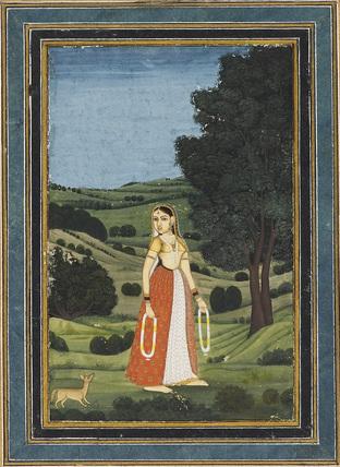 Woman in a night landscape