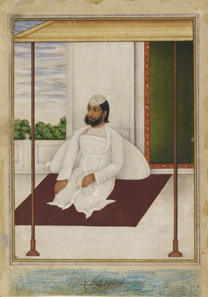 Man in a flowered skull cap