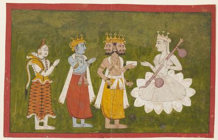 Devi revered by Brahma, Visnu and Siva