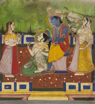 Radha and Krishna on terrace