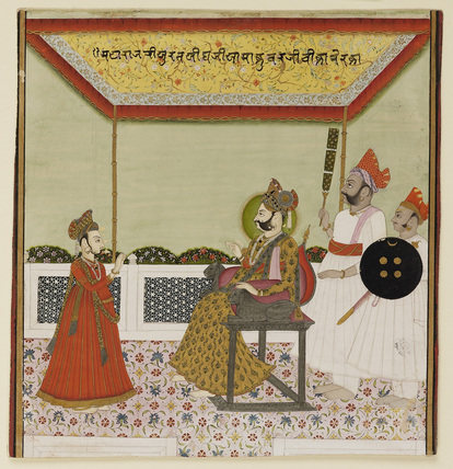 Surat Singh (1787-1828), with nimbus, sits on a lion-armed throne and receives his young son