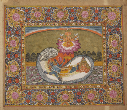 Visnu recumbent on Sesa, with Brahma on the lotus and Laksmi