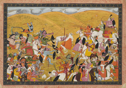 Battle scene between armies of devas and asuras, in a hill landscape