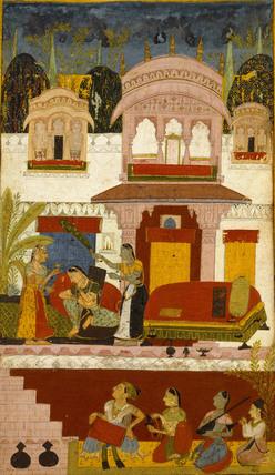 Patamanjari ragini: a forlorn lady with maids