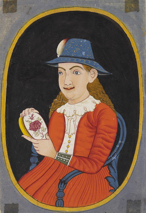 European (Dutch?) woman holding an enamelled box