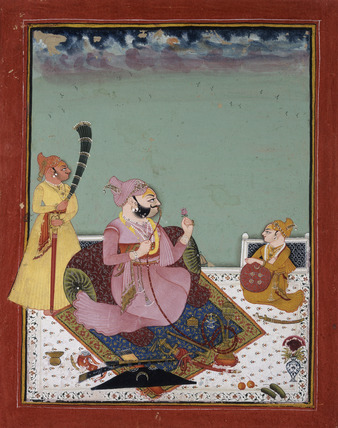 Maharao Ajit Singh on a terrace with son and attendant