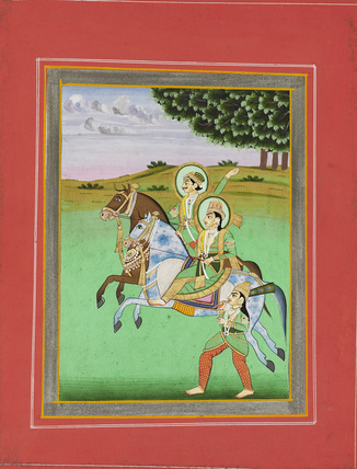 Man and woman riding. Baz Bahadur and Rumpati