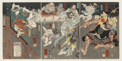 Minamoto Yoshitsune fights Benkei on Gojo Bridge, with the help of tengu demons