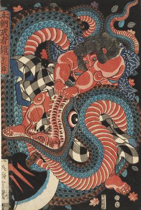 Kintoki killing a giant snake
