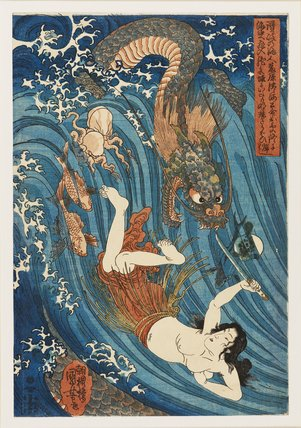 The fisher girl with the sacred jewel chased by the dragon.