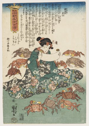 Heroine reading surrounded by crabs.