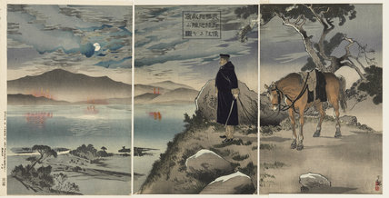A soldier with horse overlooking a lake, late evening