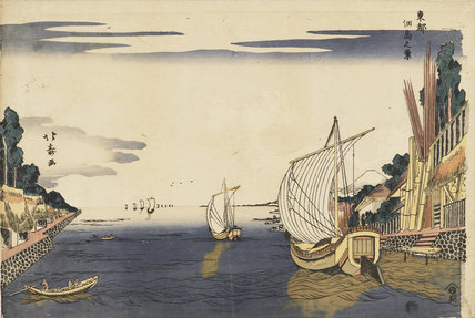 Junks at the mouth of a river in semi-European style. Tsukudajima
