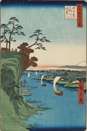 Konodai Tonegawa fukei. View of Konodai and the Tone River