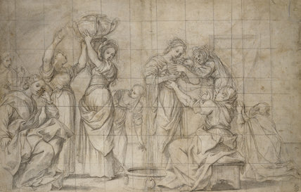 Recto: The Birth of the Baptist. Verso: Studies of two pairs of legs