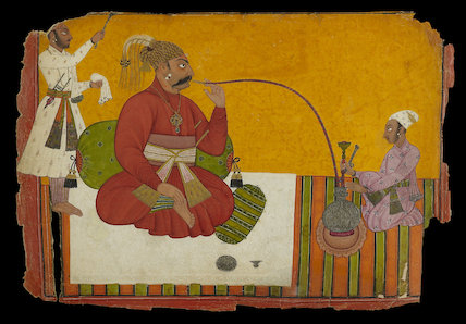 Maharaja Kirpal Pal of Basohli smoking a hookah, 1685 - 1693