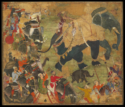 A prince riding an elephant in procession, c. 1570