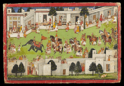 Marriage procession in a bazaar