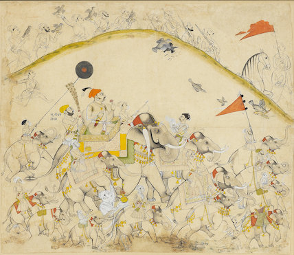 Maharaja Raj Singh of Sawar  and his elephants