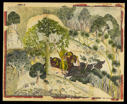 Maharao Madho Singh hunting wild boar